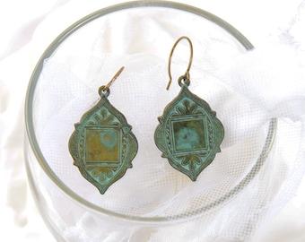Ornate Arabesque style verdigris blue green earrings. Blue green patina brass Art Nouveau earrings. Verdigris brass ornate tribal earrings.