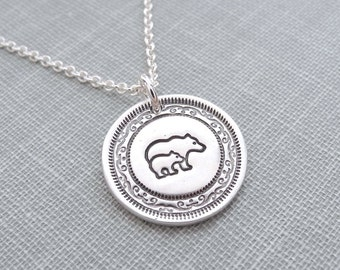 Mini Mother and Baby Bear Necklace, Bear and Cub, New Mom Necklace, Fine Silver, Sterling Silver Chain, Made To Order