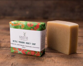 OUT OF STOCK - Nettle Soap with Yoghurt and Honey - Palm Oil Free Soap, Natural Soap, Unscented Soap, Sensitive Skin, Mother's Day Gift