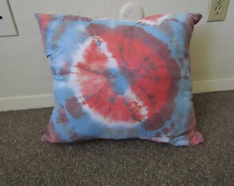 Large Shibori Dyed Throw Pillow, Red, Blue, and Mixed