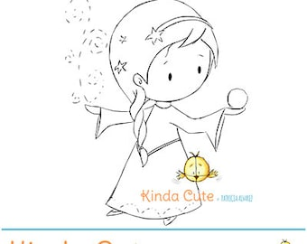 Princess snow digital stamp (black/white only). Christmas digital stamp. Fairy tale.