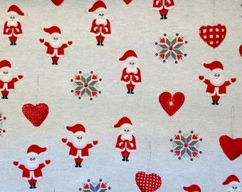 SALE - Santa and Hearts Christmas Fabric