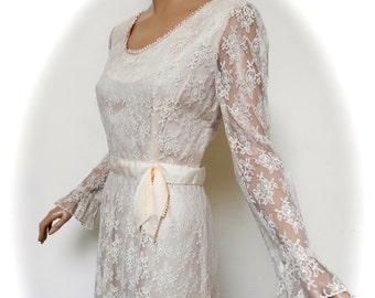 vintage 60s dress cream lace mod go go wedding bell sleeve dress 8 to small  10 uk s