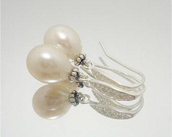 Pearl Earrings, Pearl CZ Earrings, Pearl Drop Earrings, Dangle Earrings, Bridal Earrings, Gifts For Her, Fine Jewelry, Dangle Earrings
