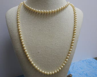 beautiful vintage opera length pearl and sterling silver necklace 55 inches 6mm