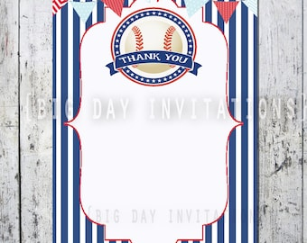 Baseball Thank You Card, Baseball Shower or Birthday Invitation Matching Thank you note Instant Download