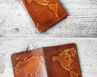 Leather Passport Cover, Personalized Gift, World Map Travel Gift, Personalized Passport Holder, Wanderlust World Map Travel Wallet