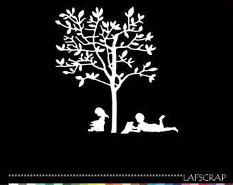 Cut-out tree reading character child girl boy cut paper embellishment die cut creation
