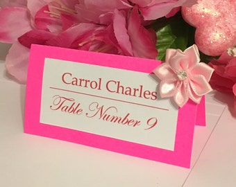 25 Customized Elegant Name Place Cards For Weddings, Birthdays, Baby Showers (Flourescent Pink)