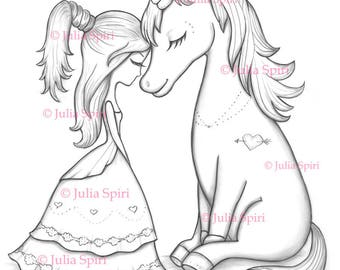 Coloring Pages, Digital stamp, Digi, Unicorn, Love, Girl, Friendship, Fantasy, Whimsy, Crafting.  The Unicorn Collection. Unicorn moment