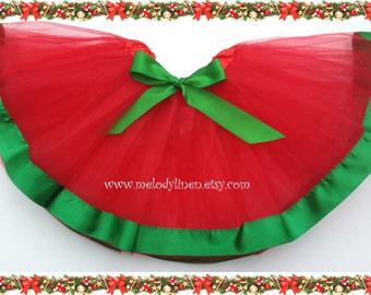SALE-Christmas tutu Red green tutu holiday tutu ballerina tutu birthday tutu christmas outfit red green ribbon tutu kelly green ribbon tutu