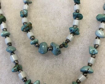 Green Turquoise Necklace and Bracelet Set