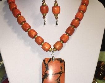 Autumn orange necklace set