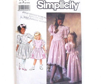 Simplicity Toddler Girls' Party Dress in 2 Lengths w/Trim Variations - Size 2+3+4 - Cut & Complete - (Bodice cut to size 4 - Skirt is Uncut)