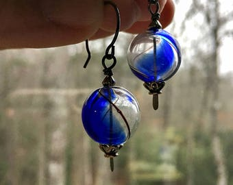 Blue and Clear Glass Orb Earrings    Blue Ridge Earrings   Something Blue   Boho   Hippie   Bride and Bridesmaid   Glass Earrings Under 20