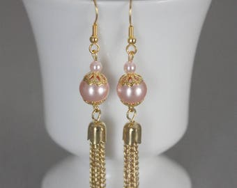 bridal party earrings pink coral and gold