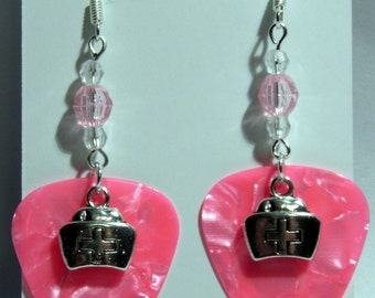 NURSE Hat Charm on Guitar Pick Beaded Earrings - Handmade in USA