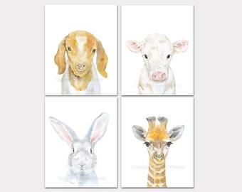 Watercolor Animal Art Prints - Set of 4 - Goat Cow Bunny and Giraffe - Nursery Wall Decor PORTRAIT-Vertical Orientation
