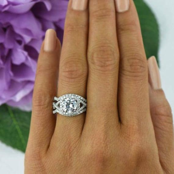2.25 ctw Twisted Halo Ring 3 Band Wedding Set Engagement
