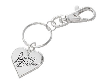 Justin Bieber Signature Heart Keyring