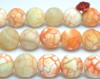 37 pcs of Natural Orange Banded Fire Agate matte dyed round beads in 10mm (07286#)