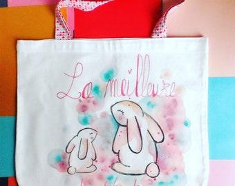 Rabbit cotton tote bag