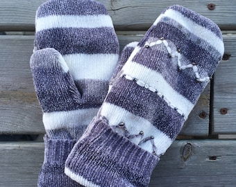 Mittens - Grey and White Striped - Upcycled Sweater