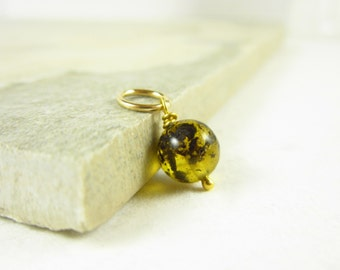 Natural Amber Stone Jewelry - Tree Resin Baltic Amber Jewelry - 14k Gold Charm - Bright Yellow Amber Pendant - Wire Wrapped Jewelry Handmade