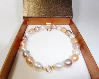 14K Solid Gold Freshwater Pear Bracelet set-Length 18.5cm-Beautiful Colors