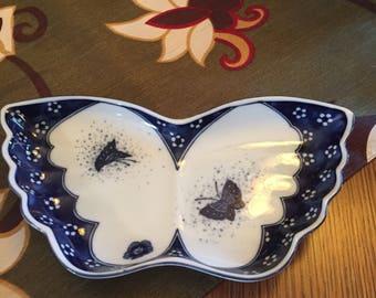 Andrea Sadek Porcelain Butterfly Plate/Jewelry Tray