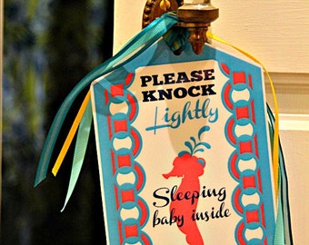 PDF Door Sign for Sleeping Baby Instant Downloadable File Knock Lightly Tag