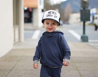 Never Grow Up Hat - Youth Trucker Hat - Toddler Trucker Hat - Kids Trucker Hat - Trendy Hat - Snap Back - Boys Hat  - Girls Hat - Hipster