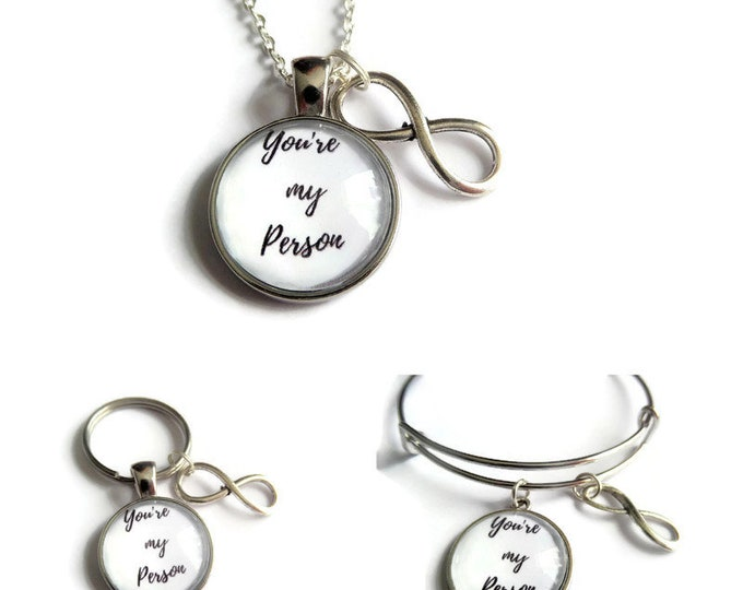 My person necklace, friend gift, my person keyring, person bracelet, my person bangle, you're my person, infinity necklace, sandykissesuk