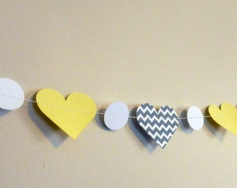 Yellow and Gray Chevron Paper Heart Garland | Valentine's Day Party and Home Decor