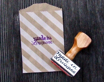 Made in Louisiana Rubber Stamp, Calligraphy Stamp, State Stamp, Hand Lettering