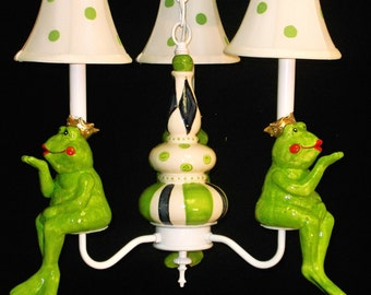 Childrens Lighting - Frog Prince Chandelier - Nursery Chandelier - Baby Nursery Decor