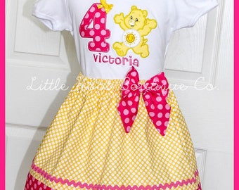 Care Bear Funshine Bear  Birthday Skirt outfit Name and age included