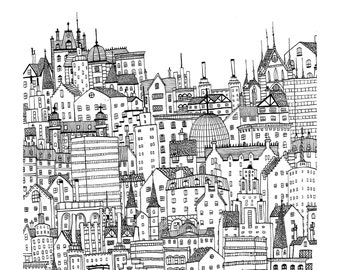 Black and White City - Fine Art Giclée Archival Print