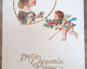 Antique Victorian Era Cupid Postcard Early 1900's