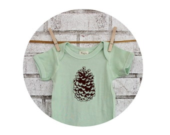 Pine Cone Baby Onepiece,  Cotton Infant Clothing, Hand Screenprinted, Outdoors, Camping, Spring Clothing, Pastel Mint Green One Piece