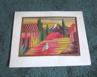 Vintage Colorful Scenic Mexican Straw Art Collage for Framing