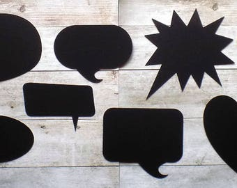 8 chalkstalk die cut speech bubbles - with or without straw stick