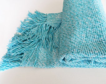 Handwoven linen scarf, handwoven wrap, womens scarf, woven linen wrap, summer scarf, blue scarf, linen scarf, turquoise scarf wrap