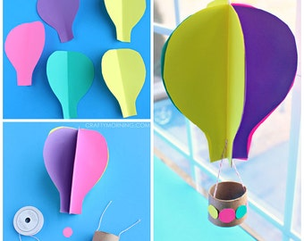 3D Spinning Hot Air Balloon Craft Template