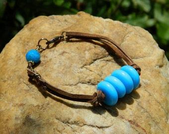 Blue Lampwork Bead Bracelet
