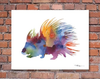 Porcupine Art Print - Abstract Watercolor Painting - Animal Wall Decor