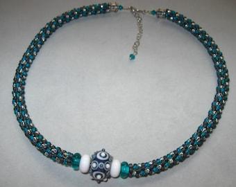 Toscana Grey and Teal Kumihimo Necklace