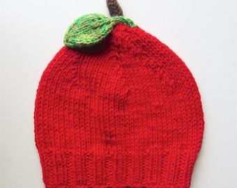 Red Apple Baby Hat - knitted bamboo blend yarn - red, green & brown - fruit knit beanie