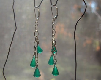 Deep Green Chalcedony and Sterling Silver Drop Earrings with Lever Back Ear Wires