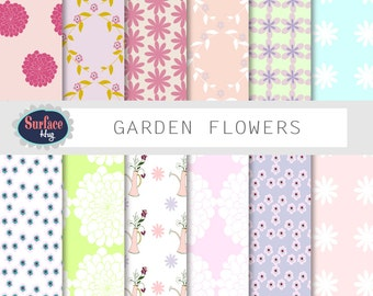 Digital paper GARDEN FLOWER Floral digital paper Flower paper Garden paper Floral scrapbook paper Digital paper flowers Blog background